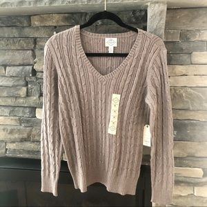 New Taupe Cable Knot Sweater